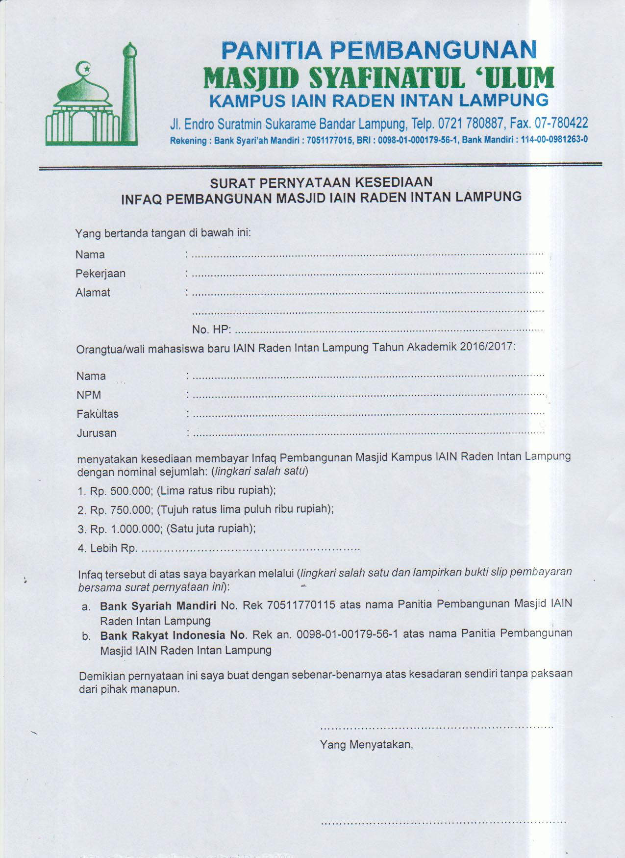 Jadwal Pembayaran Dan Syarat Banding Ukt Jalur Span Ptkin 2018 Universitas Islam Negeri Raden Intan Lampung Uin Raden Intan Lampung